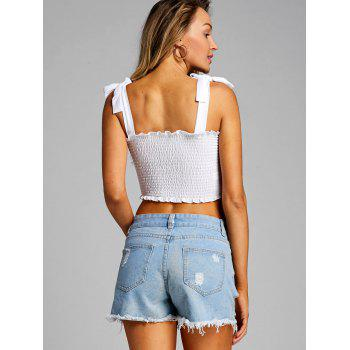 Shirred Frill Crop Top - WHITE S