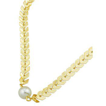 Artificial Pearl Fishbone Chain Necklace - GOLDEN