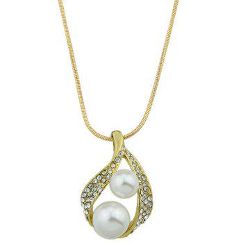 Rhinestone Faux Pearl Snake Chain Necklace Jewelry Set - GOLDEN