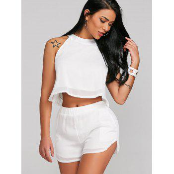 Crop Top With Chiffon High Waist Shorts - WHITE S
