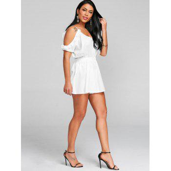 Cami Open Shoulder Cut Out Romper - WHITE S