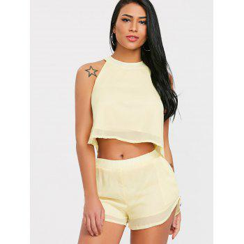 Crop Top With Chiffon High Waist Shorts - LIMEADE L