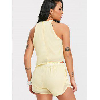 Crop Top With Chiffon High Waist Shorts - LIMEADE M