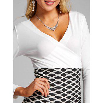 V Neck Argyle Print Party Dress - BLACK WHITE L