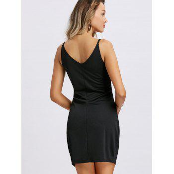 Spaghetti Strap Two Tone Mini Dress - BLACK WHITE M