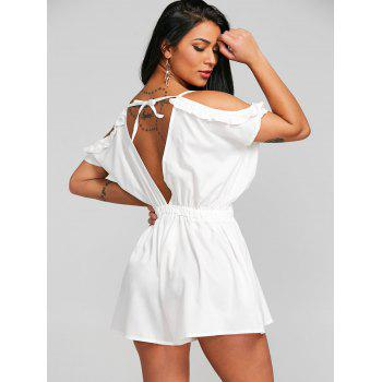Cami Open Shoulder Cut Out Romper - WHITE M