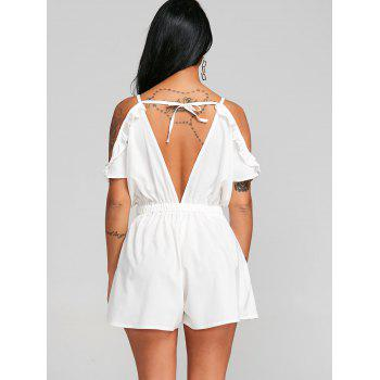 Cami Open Shoulder Cut Out Romper - WHITE L