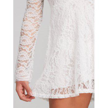 See Through Plunge Lace Short Dress - WHITE M