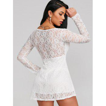 See Through Plunge Lace Short Dress - WHITE L