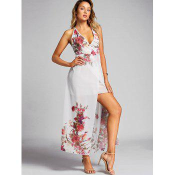Floral Print Halter Chiffon Dress - WHITE XL