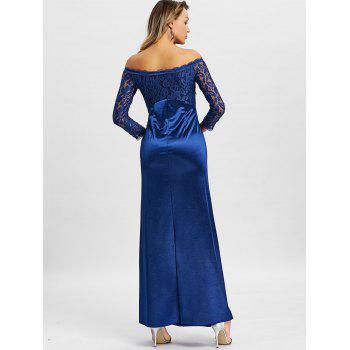 Off The Shoulder Long Party Dress - DEEP BLUE M