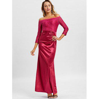 Off The Shoulder Long Party Dress - CLARET S