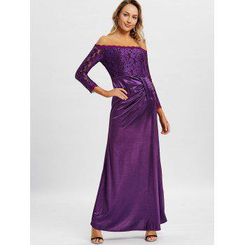 Off The Shoulder Long Party Dress - VIOLET XL