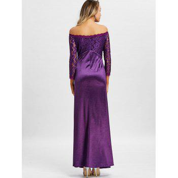Off The Shoulder Long Party Dress - VIOLET 2XL