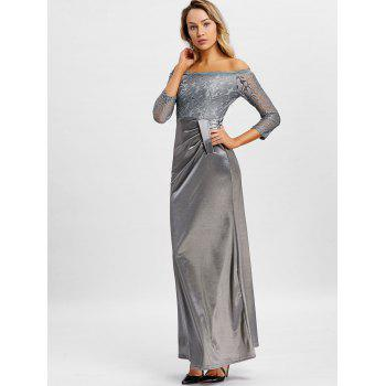 Off The Shoulder Long Party Dress - GRAY XL