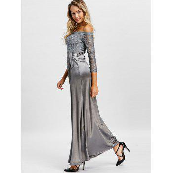 Off The Shoulder Long Party Dress - GRAY L