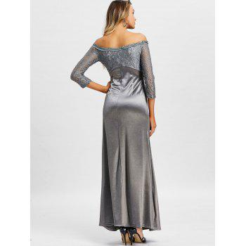 Off The Shoulder Long Party Dress - GRAY M