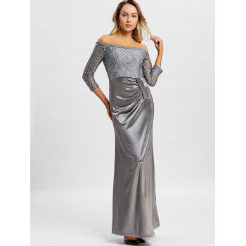 Off The Shoulder Long Party Dress - GRAY S