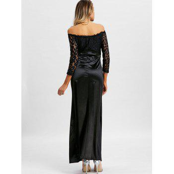 Off The Shoulder Long Party Dress - BLACK 2XL