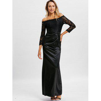 Off The Shoulder Long Party Dress - BLACK L