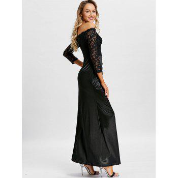 Off The Shoulder Long Party Dress - BLACK S