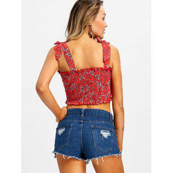 Flower Print Smocked Crop Top - RED L