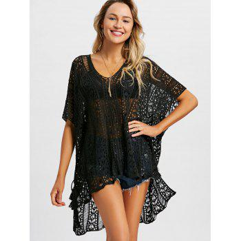 Slit Tassel Crochet Cover Up Top - BLACK ONE SIZE