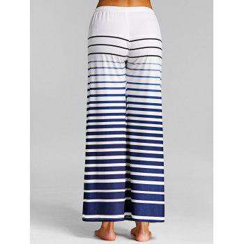 Ombre Striped Casual Wide Leg Pants - WHITE M
