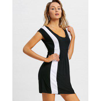 Empire Waist Mini Casual Dress - BLACK XL