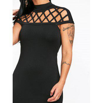 Mock Neck Lattice Cut Fitted Dress - BLACK L