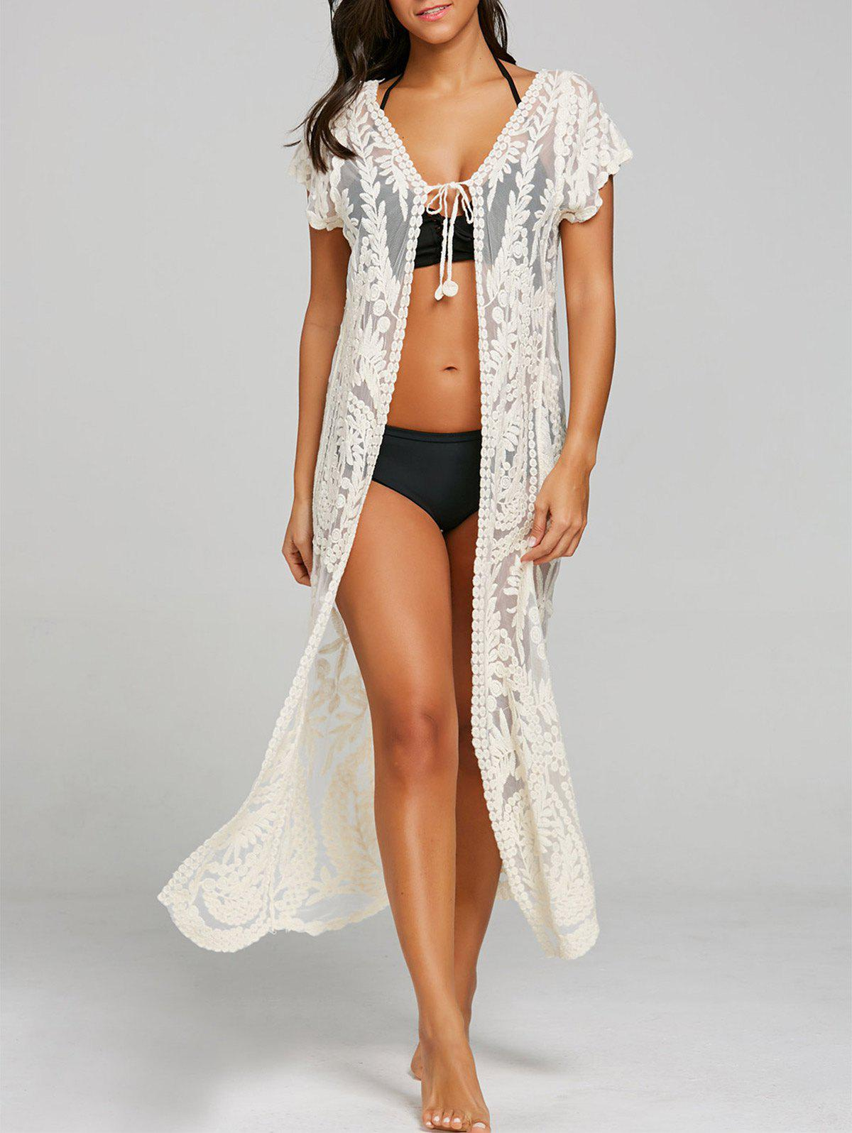 See Thru Lace Embroidery Maxi Cover Up see thru mini lace dress