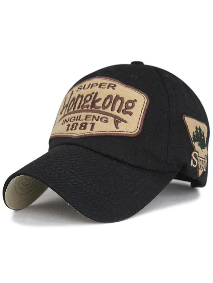 Unique Letter Sentences Cotton Baseball Hat - BLACK
