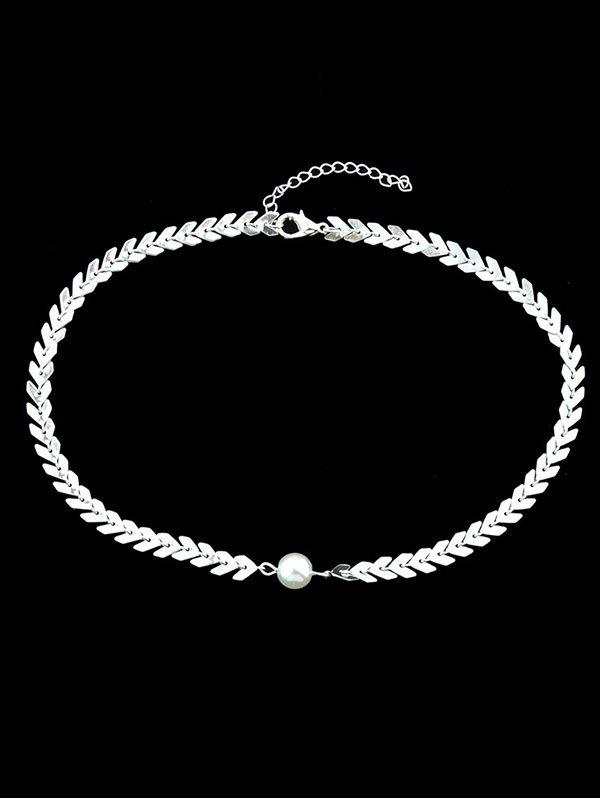 Artificial Pearl Fishbone Chain Necklace - SILVER