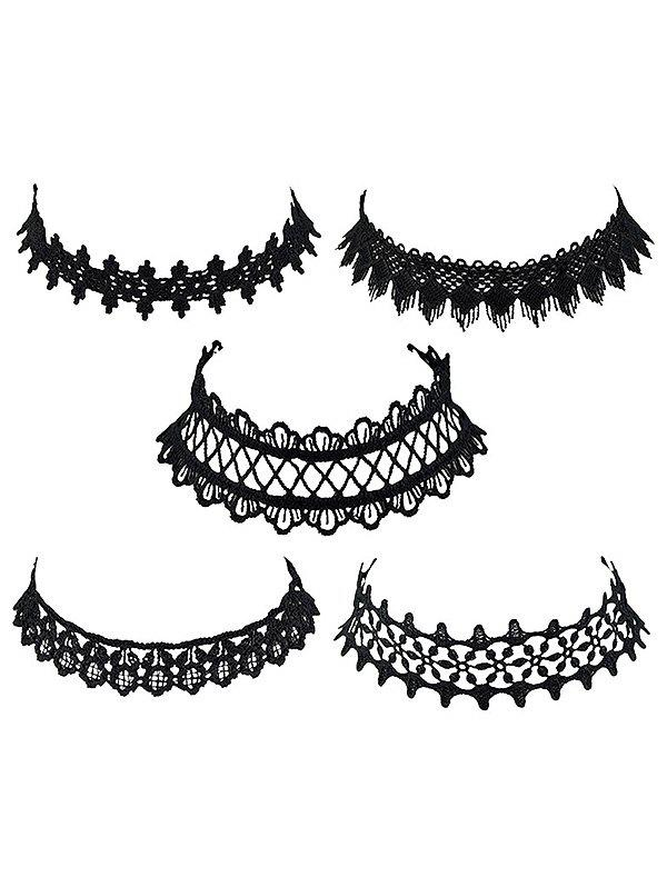 Flower Openwork Lolita Lace Choker Necklace Set - BLACK