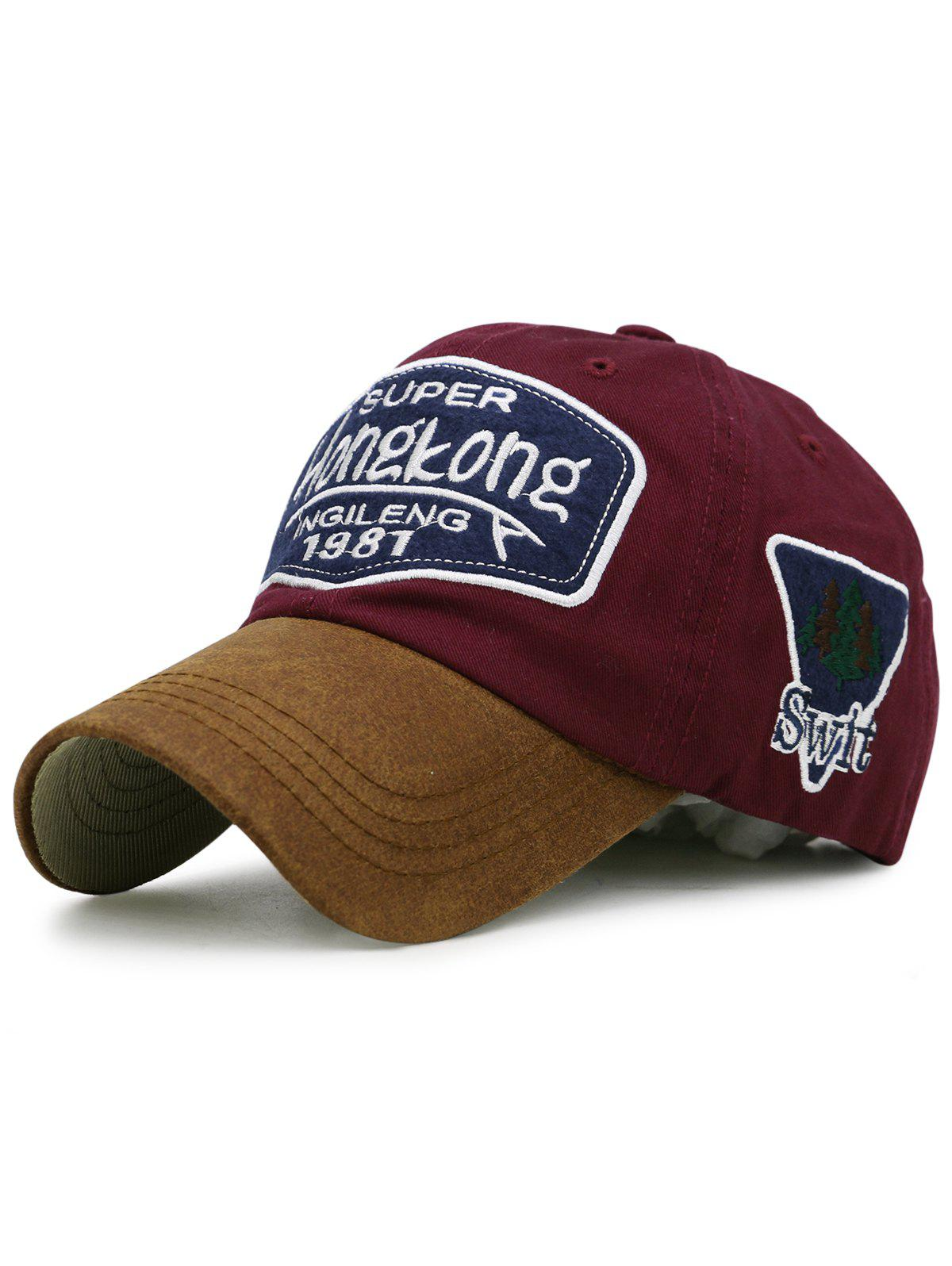 Unique Letter Embroidery Adjustable Graphic Hat - WINE RED