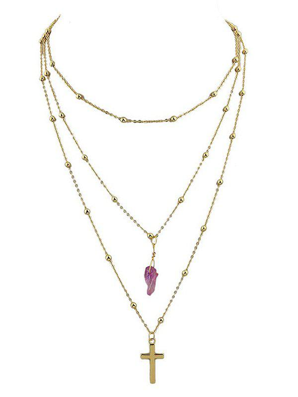 Cross Faux Jade Layered Beaded Chain Necklace - PURPLE