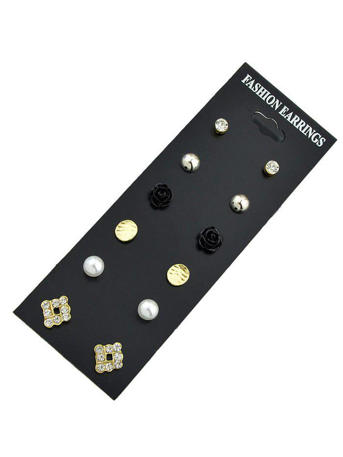 Rose Flower Square Beads Stud Earring Set - BLACK