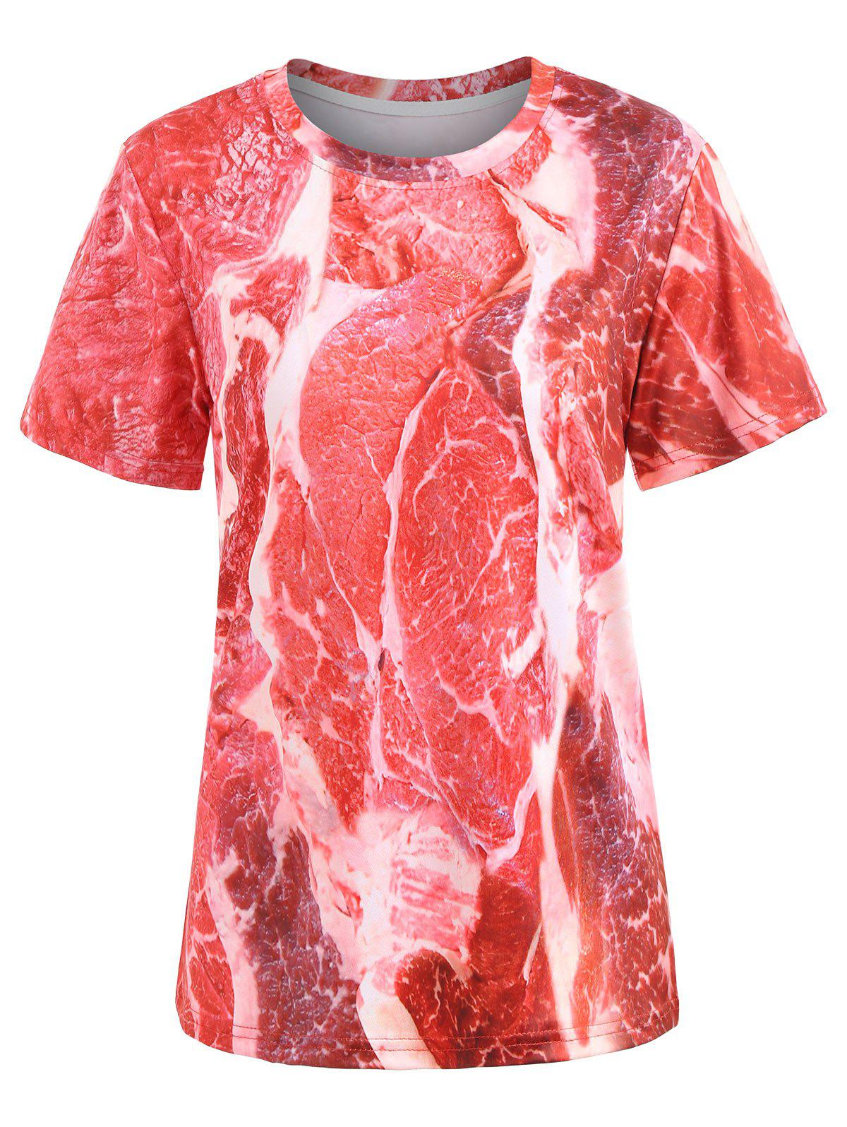 Casual Raw Meat Tee - RED 2XL