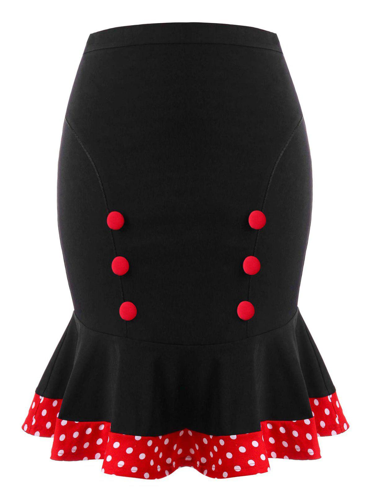 Plus Size Retro Polka Dot Mermaid Skirt - BLACK XL