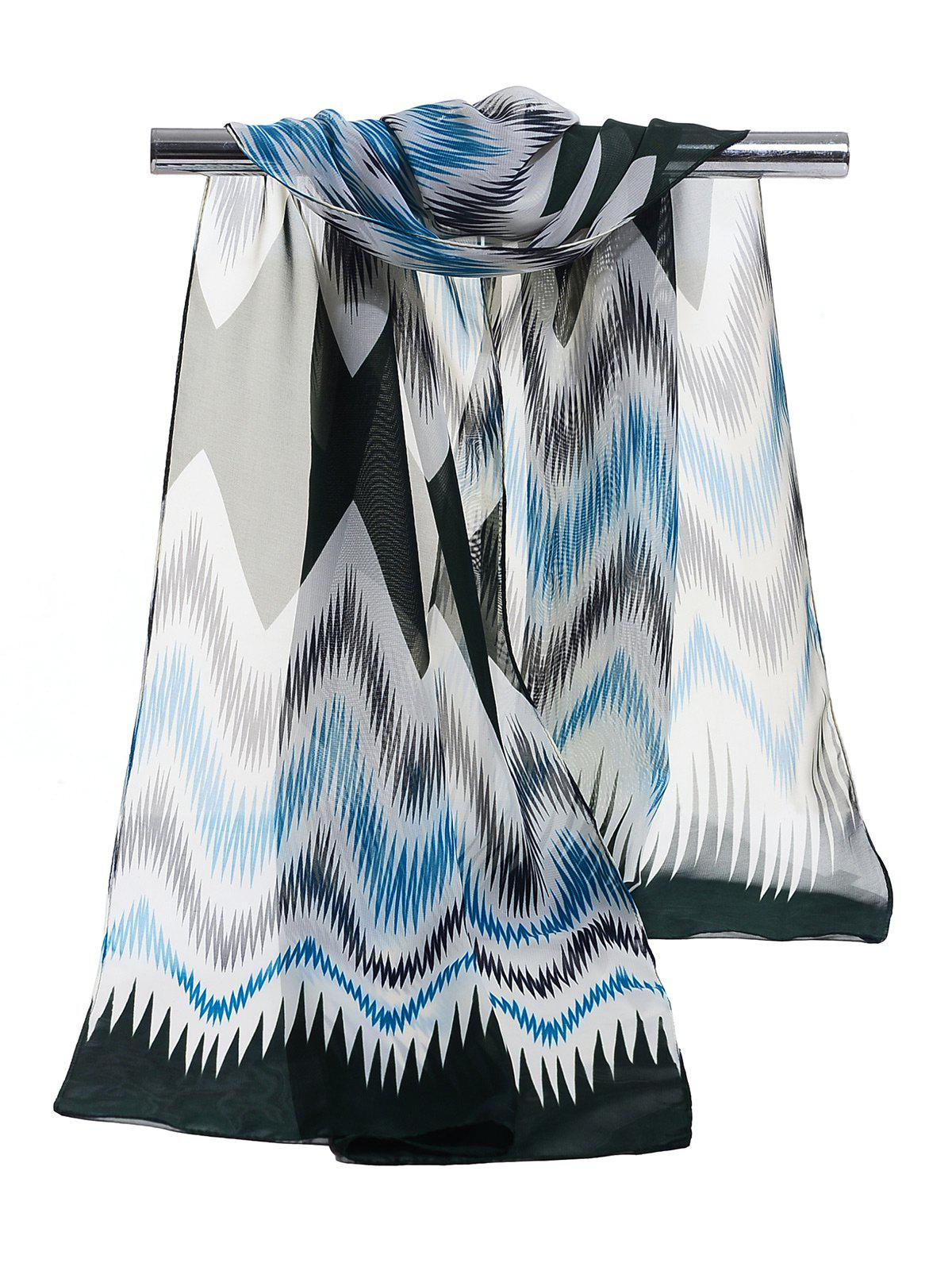 Soft Wave Stripe Pattern Silky Chiffon Scarf - BLUE