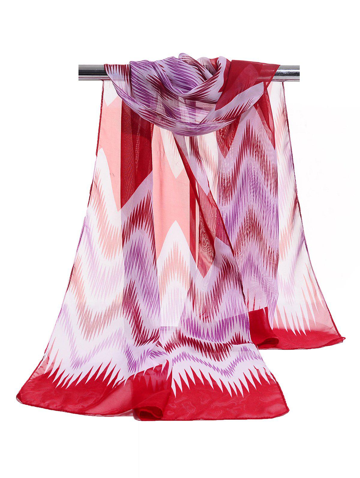 Soft Wave Stripe Pattern Silky Chiffon Scarf - RED