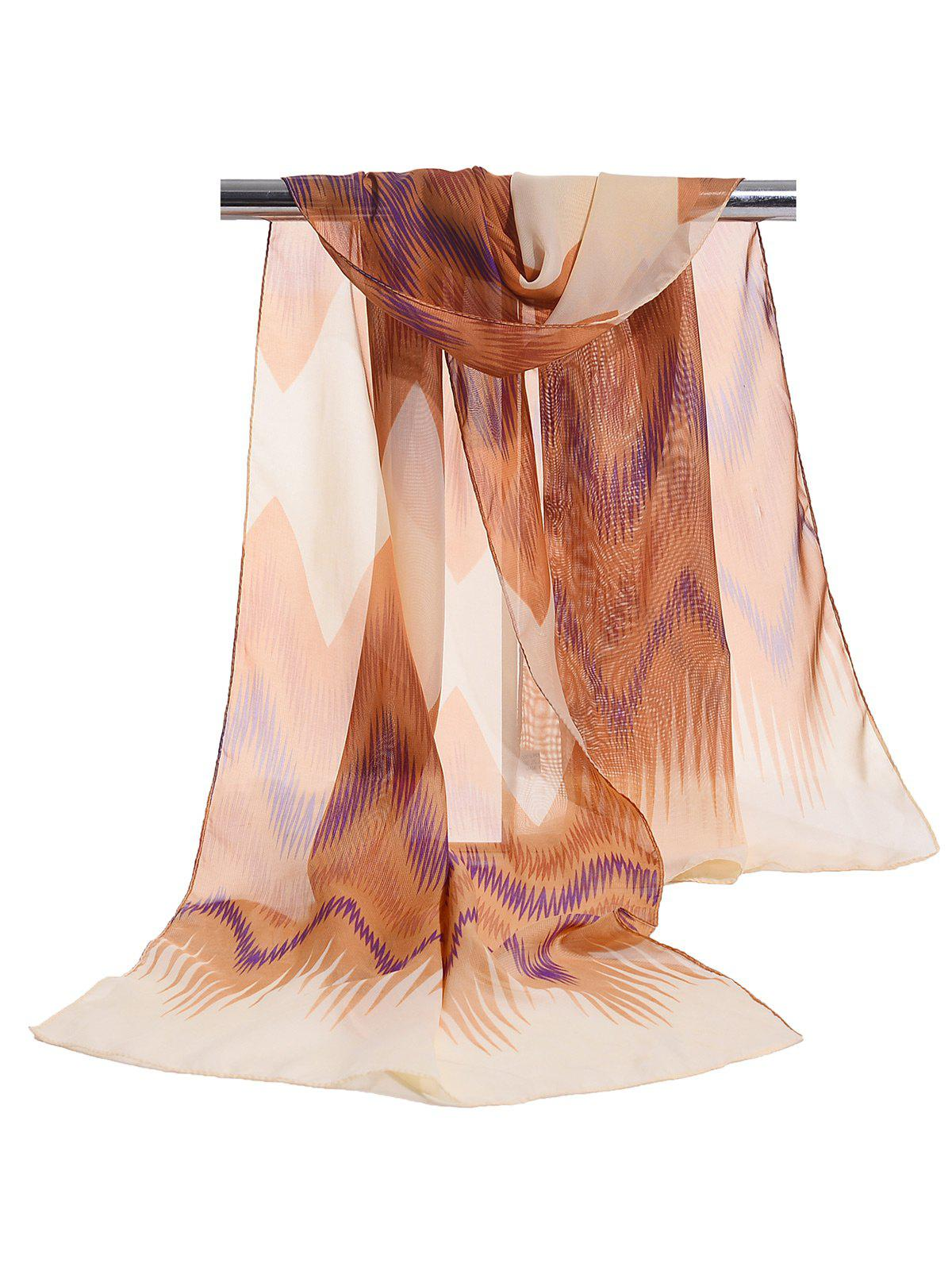 Soft Wave Stripe Pattern Silky Chiffon Scarf - LIGHT COFFEE