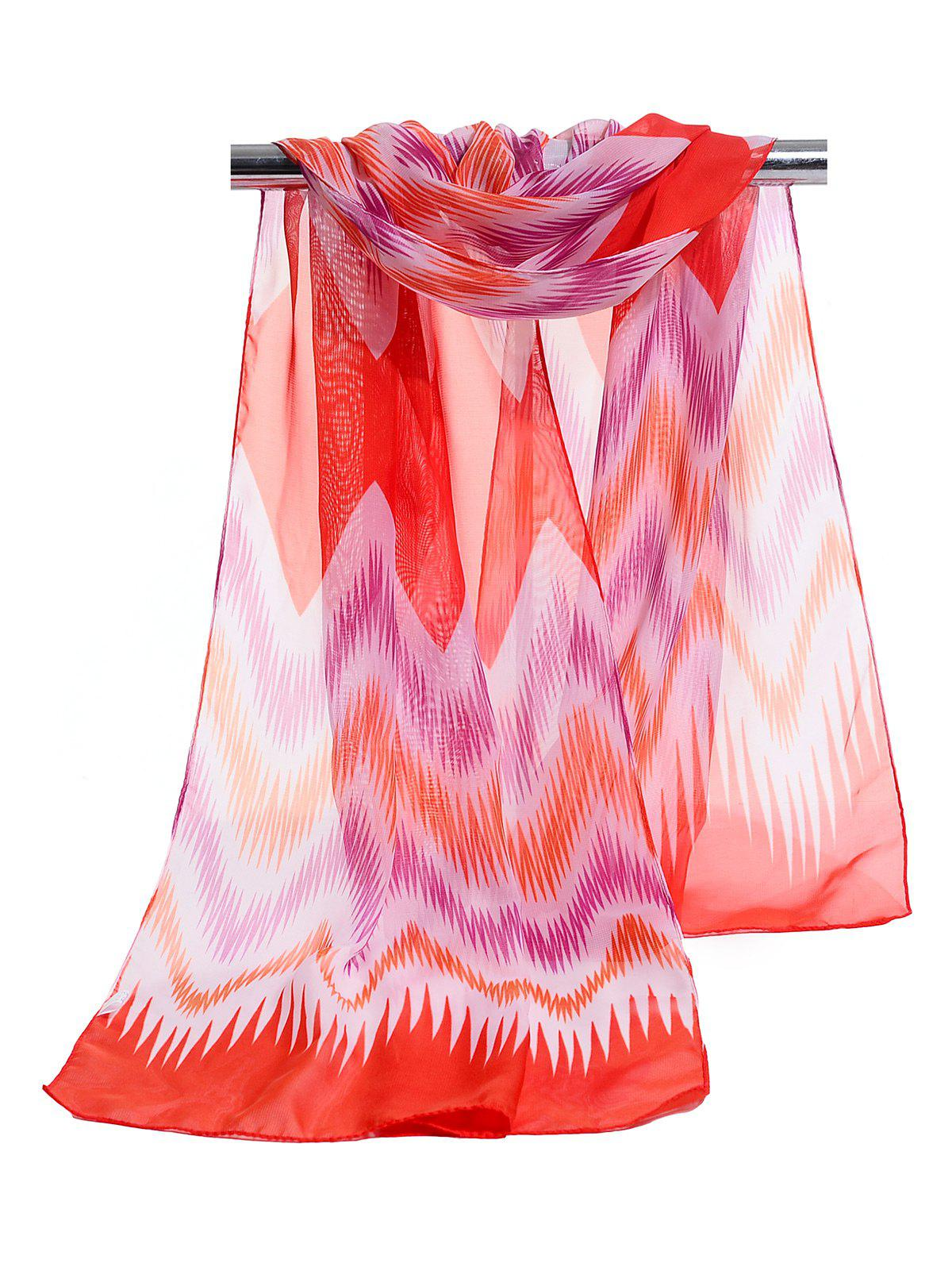 Soft Wave Stripe Pattern Silky Chiffon Scarf - JACINTH