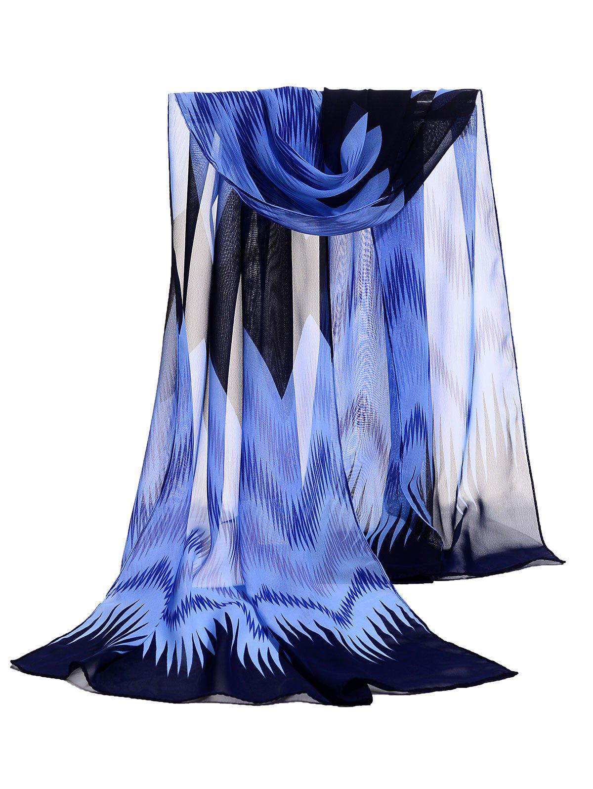 Soft Wave Stripe Pattern Silky Chiffon Scarf - CADETBLUE