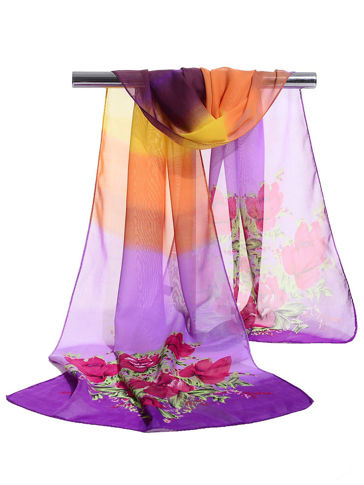 Vintage Floral Pattern Printed Soft Chiffon Scarf - PURPLE