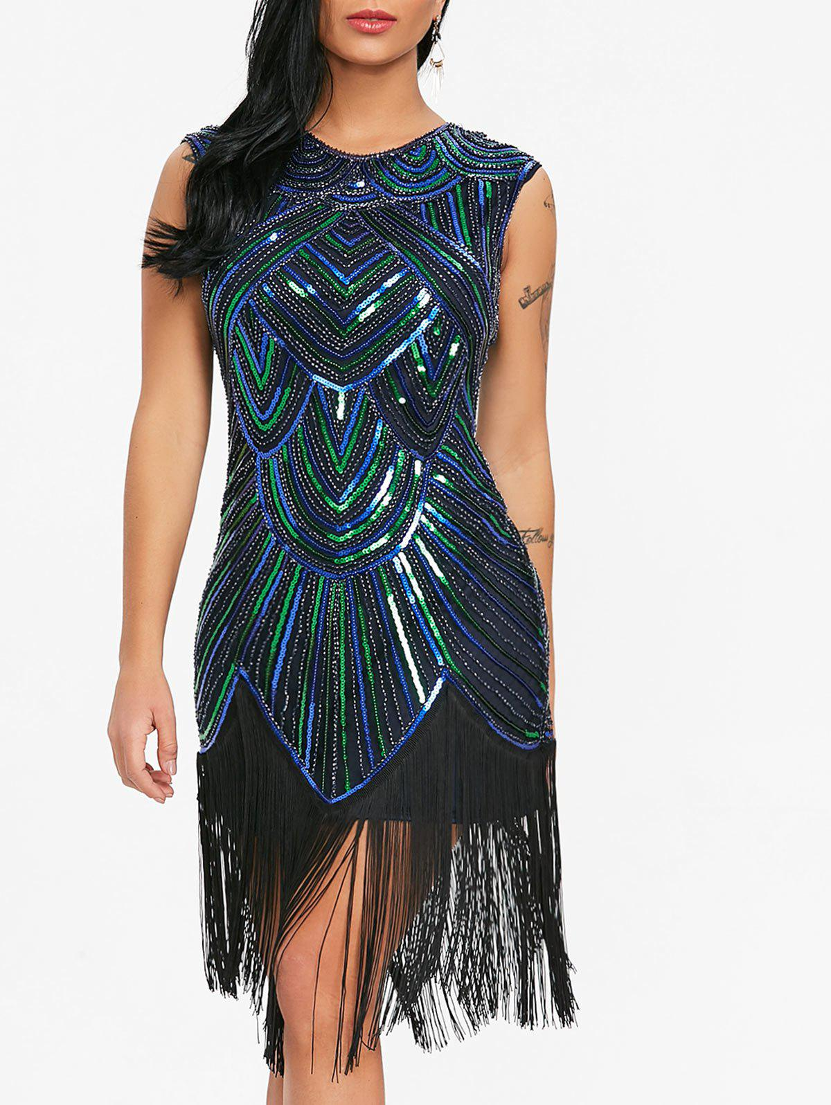 Sequined Fringe Midi Bodycon Dress - BLUE/GREEN M