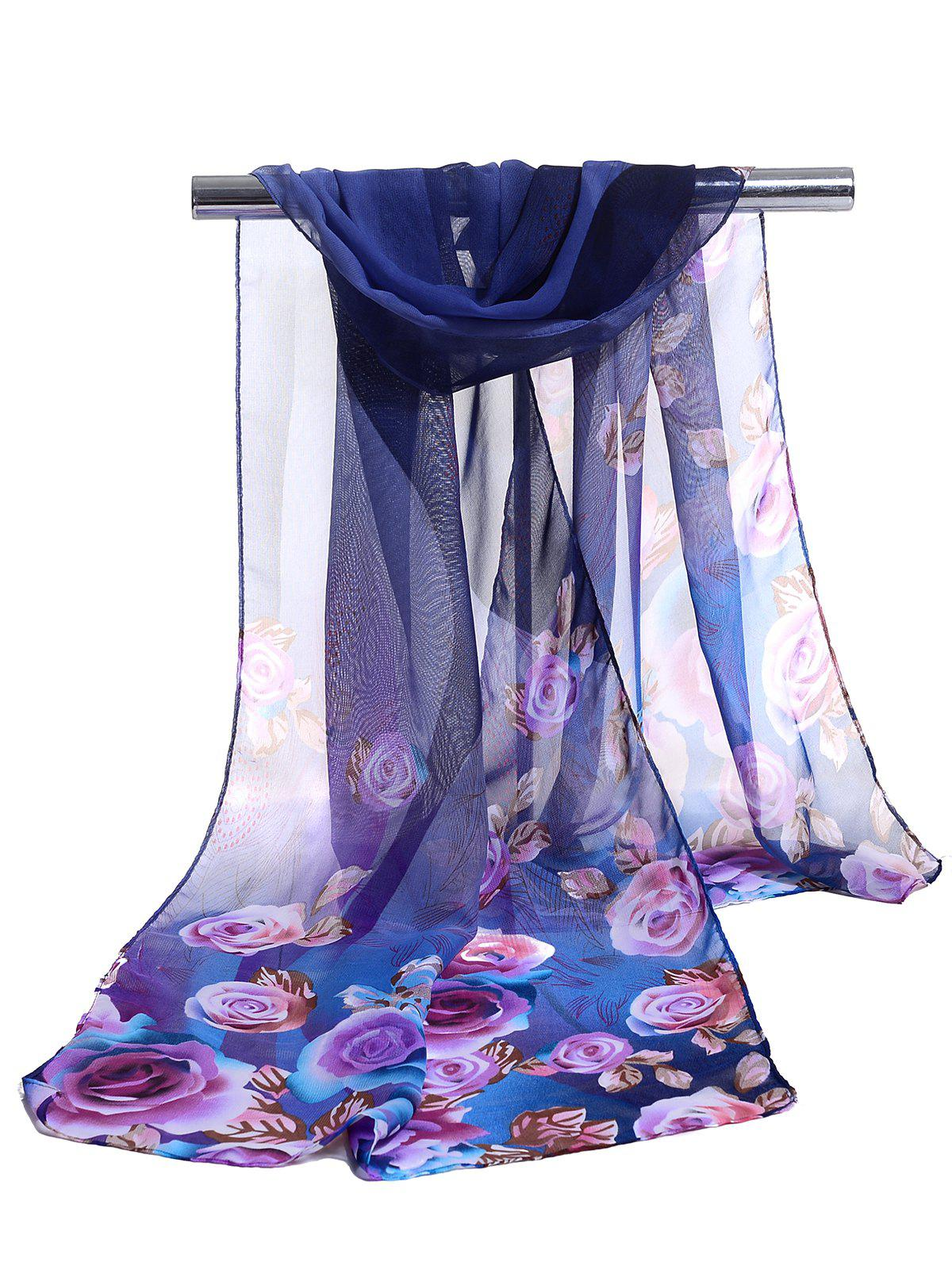 Lightweight Floral Pattern Spring Fall Scarf - ROYAL