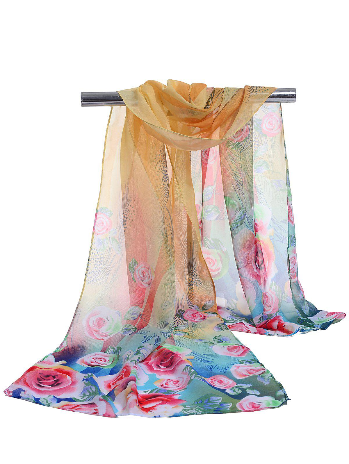 Lightweight Floral Pattern Spring Fall Scarf - YELLOW