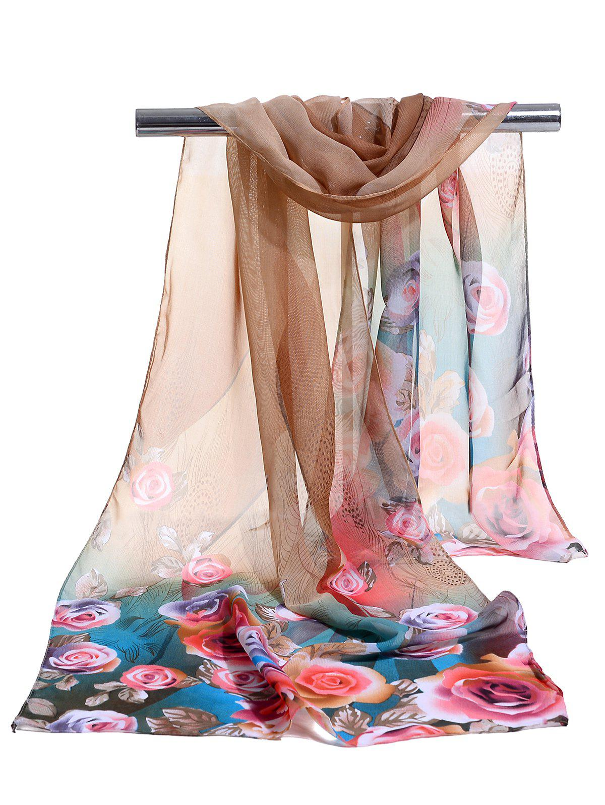 Lightweight Floral Pattern Spring Fall Scarf - CAPPUCCINO