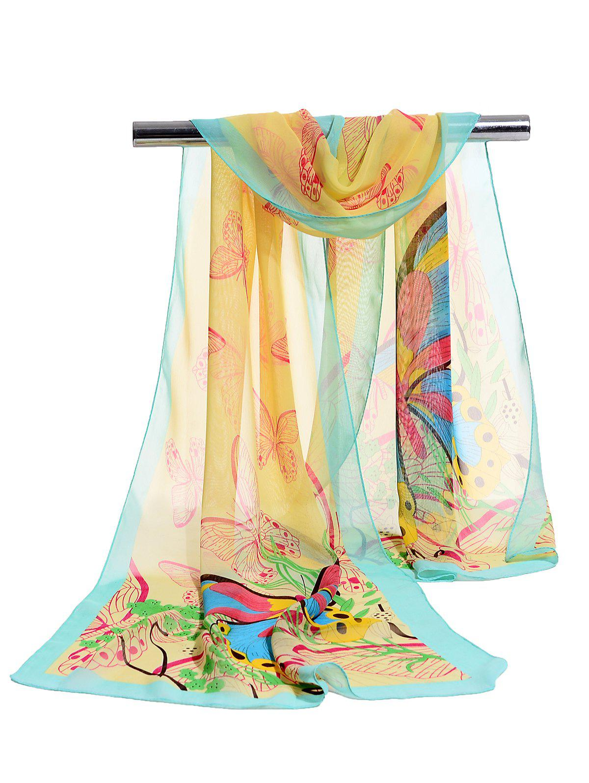 Flying Butterfly Floral Pattern Lightweight Chiffon Scarf - YELLOW